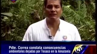 Correa Muestra al Mundo La Mano Sucia de Chevron Contaminación Amazonía de Ecuador