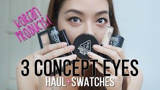korean Makeup Products  3 Concept Eyes Haul  Swatches