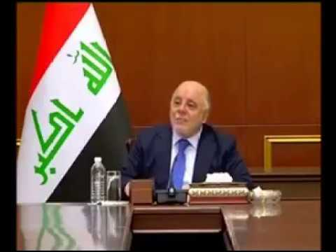 Prime Minister Dr. Haidar al-Abadi during a gathering of leaders of the popular crowd 25 March