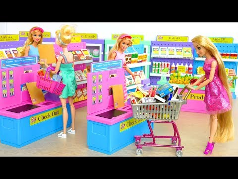 Barbie doll and Kelly Supermarket Grocery Shopping  Toko kelontong Barbie Mercearia Supermercado