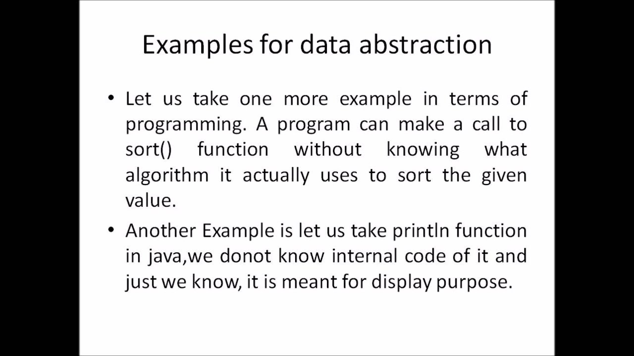 object oriented programming - data abstraction