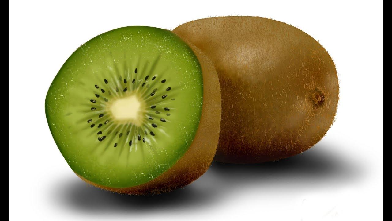 How to draw the realistic Kiwi fruit - YouTube