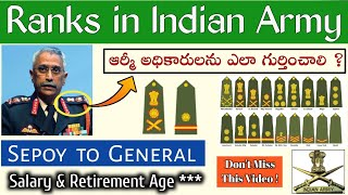Indian Army Ranks in Telugu || Salary & Retirement Age || Sepoy to General Ranks || Join Indian Army