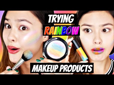 TESTING RAINBOW MAKEUP! Korean Rainbow Highlighter, Lipsticks, Foundation, and Eyeshadow!