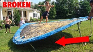 TRAMPOLINE VS SPAGHETTI AND MEATBALLS! (GONE WRONG)