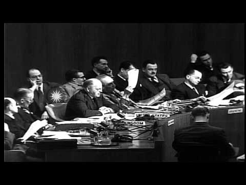 Israel-Palestine issue at the UN General Assembly, Ambassador Warren Austin of th...HD Stock Footage