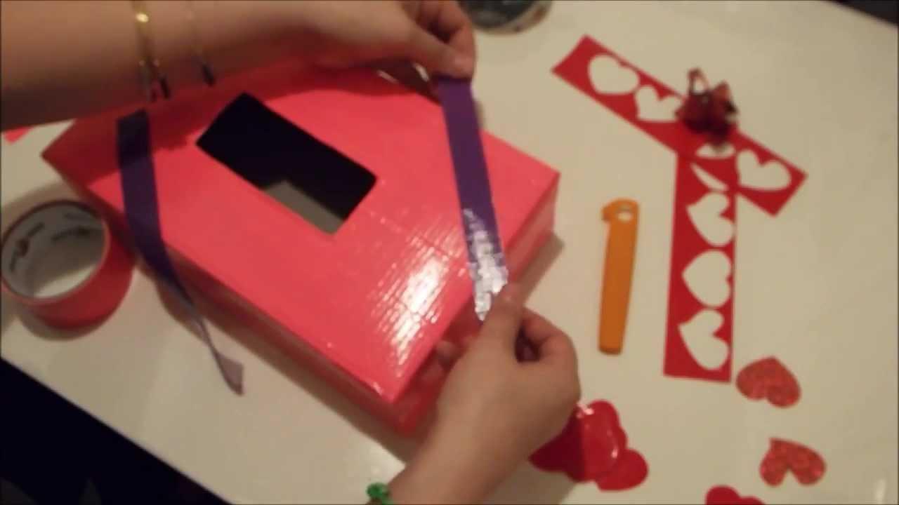 Valentines Box Tutorial DIY Duct Tape Holder YouTube – Valentines Card Box Ideas