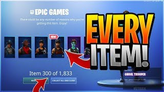 I gave myself EVERY ITEM in Fortnite.. (Fortnite Battle Royale) All fortnite skins