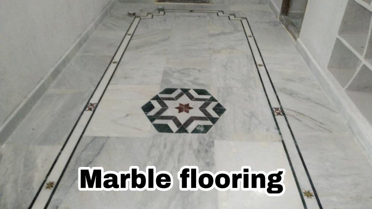 Marble flooring border design and flower