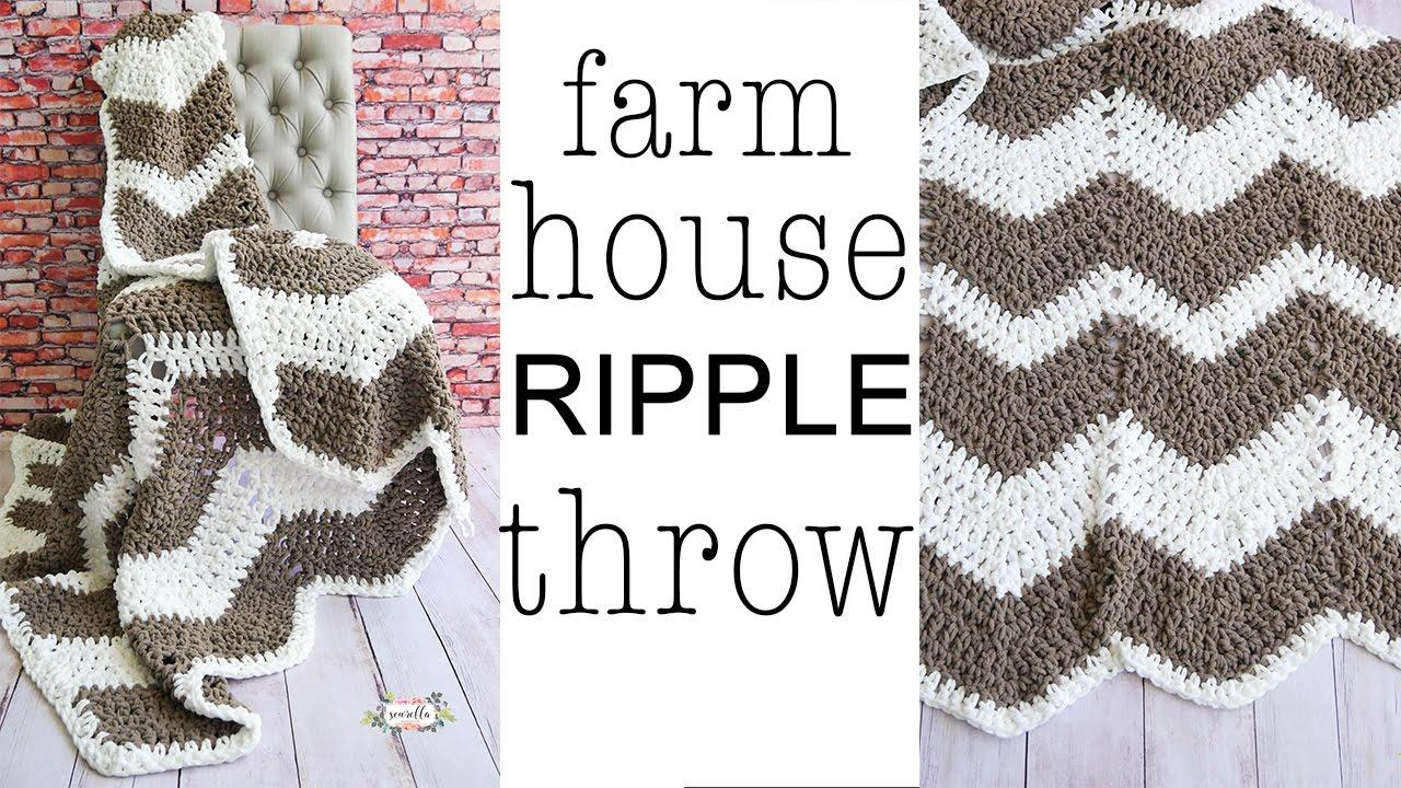 Crochet CHEVRON Farmhouse Ripple Throw Blanket - YouTube