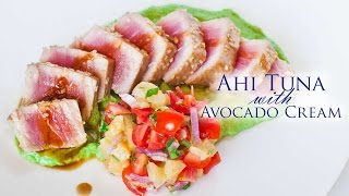 Seared Ahi Tuna With Avocado Cream And Pineapple Salad