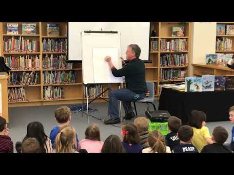 Author Brian Lies draws for Osgood Elementary School students in Cohasset