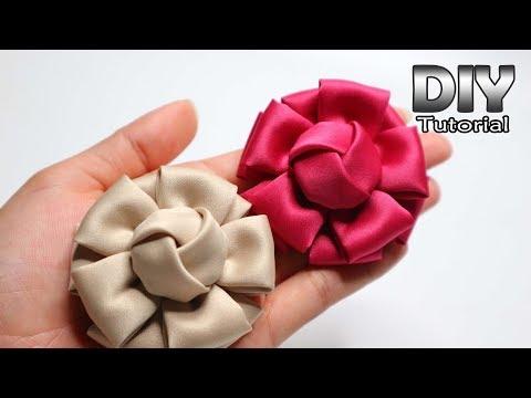 DIY - Tutorial Fabric Flower Satin Velvet | Bunga Hanna | Cara membuat bros bunga kain