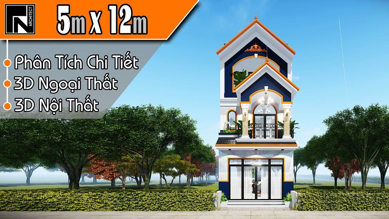Mẫu nhà ống 3 tầng đẹp mái thái 5x12 m, 3 phòng ngủ   TNA110   Kiến trúc TN