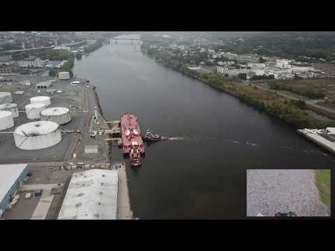 Ports of Albany and Rensselaer on the Hudson with GoPro footage inserted.