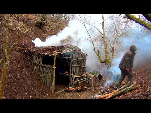 Bushcraft building underground cabin wild forest, cooking fish camp fire