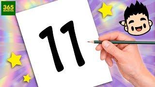 INCREIBLE TRUCO CON EL NUMERO 11 -  DIBUJO A BATMAN CON EL NUMERO 11