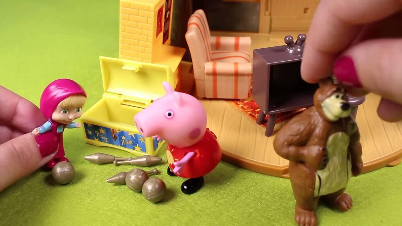 En Español Merendar Y Peppa Juguetes A Invitan Videos Masha De Oso El Pig RL5Aj34
