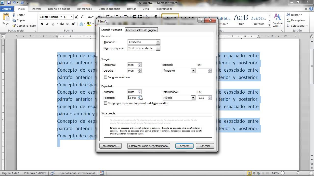 6 tutorial word espacio entre p rrafos youtube for En word cual es el interlineado