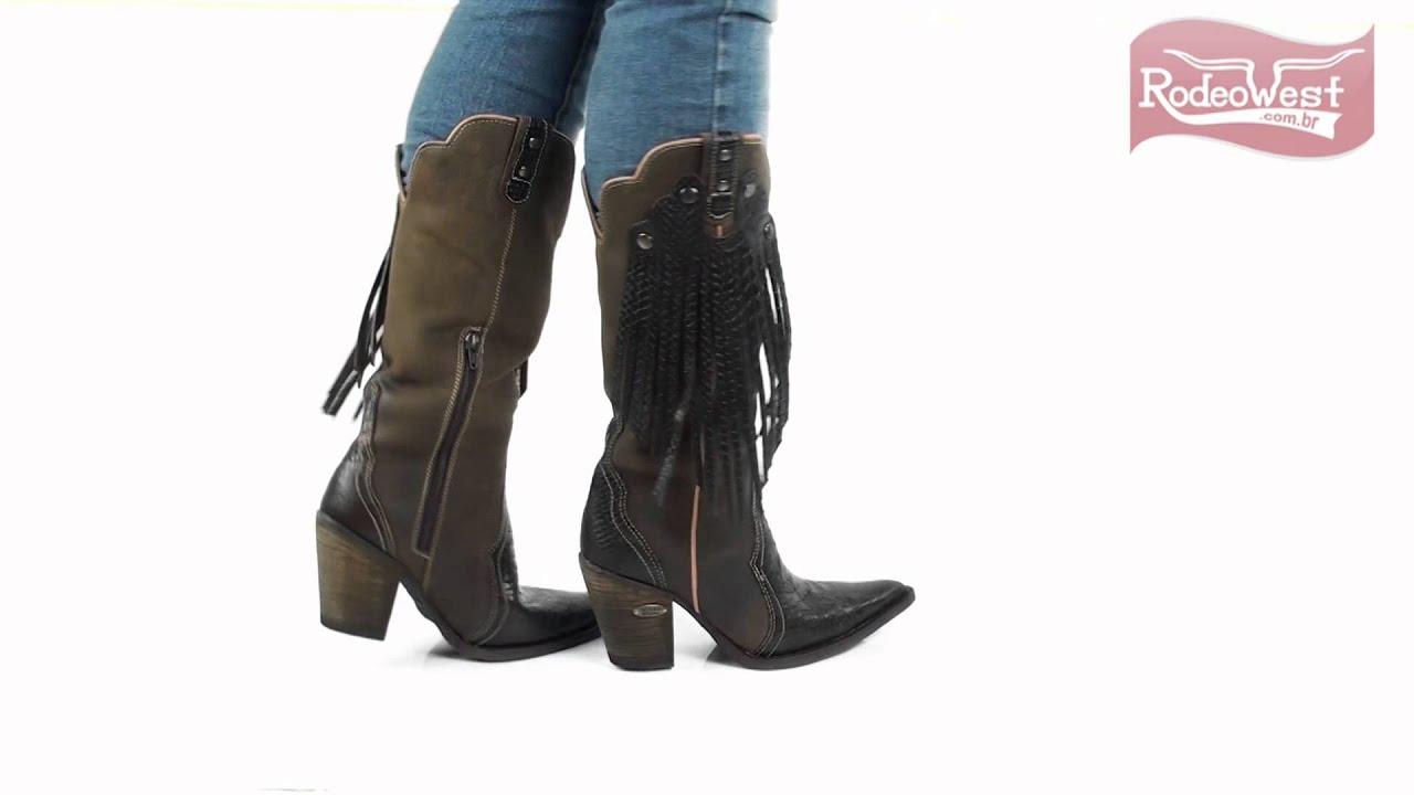 15b499e9da Bota Texana Feminina Anaconda Cano Alto c  Franja e Rebite - Agabê -  YouTube