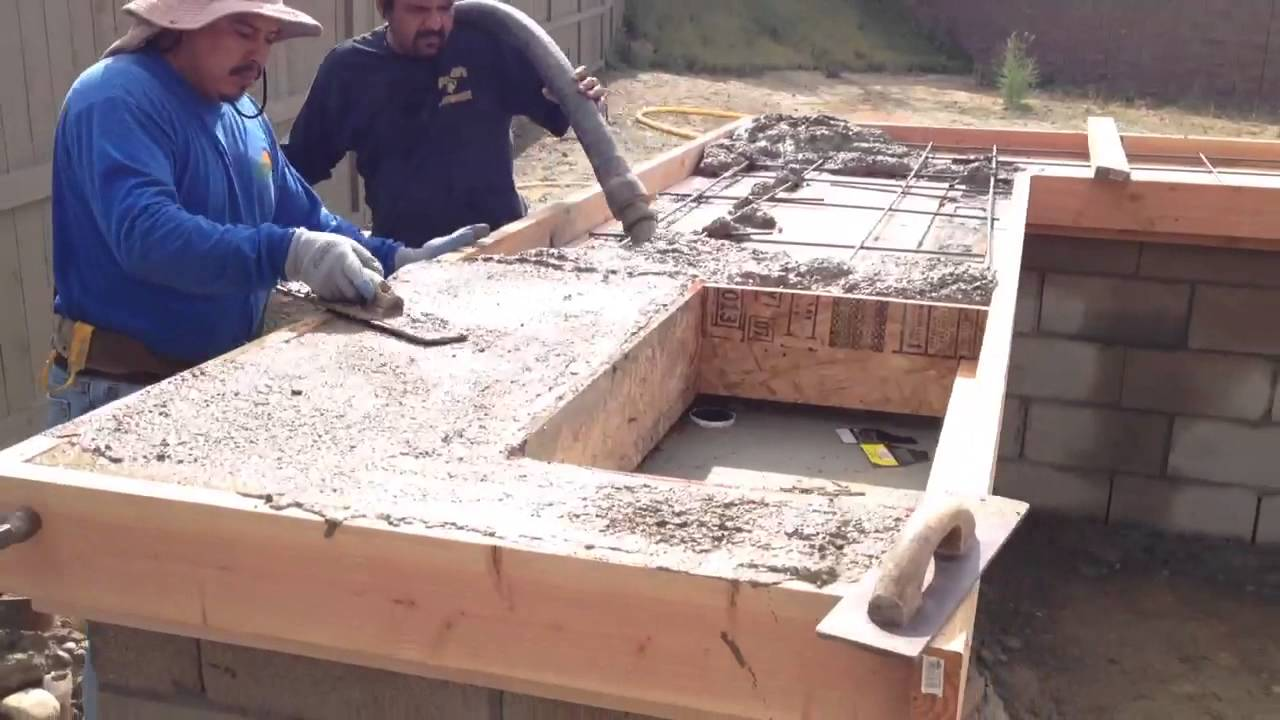 pouring concrete for backyard bbq youtube