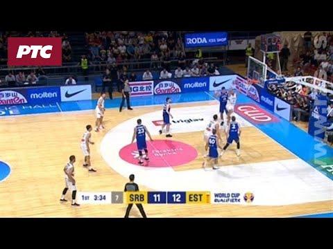 Košarka Srbija Estonija Zakucavanje Nemanje Bjelice