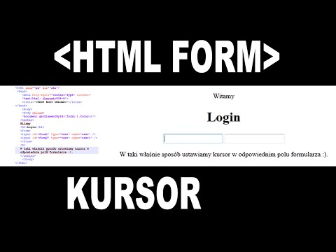 Jak ustawić kursor w polu formularza HTML.How to set up cursor on specify HTML form field