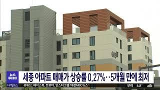 세종 아파트 매매가 상승률 5개월 만에 최저/대전MBC