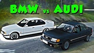 BMW e34 против AUDI 100 НА БЕЗДОРОЖЬЕ   SpinTires