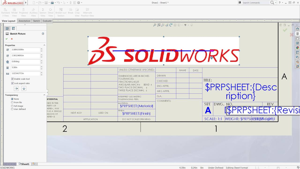 Solidworks tech tip sheet format vs drawing sheet youtube for Solidworks drawing template tutorial