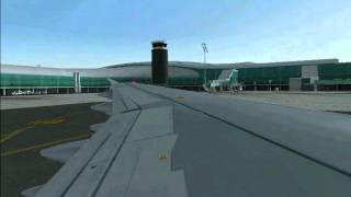 FS2004 Iberia A321 landing and taxiing to gate 216 at Barcelona
