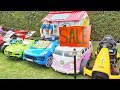Ali and Adriana play TOY CARS SALE Ride on for Kids