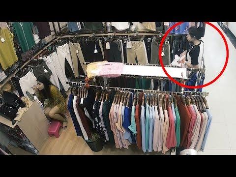 Thief Steals Clothes While Shop Assistant Does Makeup