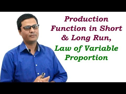 Production Function in Short Run and Long, Law of Variable Production in Hindi
