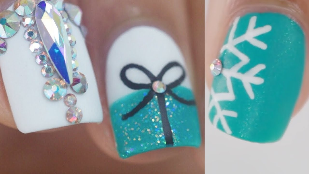 10 Easy Glam Christmas Nail Art Ideas Youtube