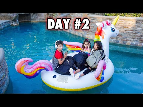 LAST TO FALL IN THE POOL WINS A MYSTERY PRIZE!!! **Bad Idea**