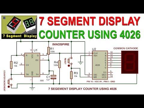 7 Segment Digital Counter Circuit using 4026 and 555 IC