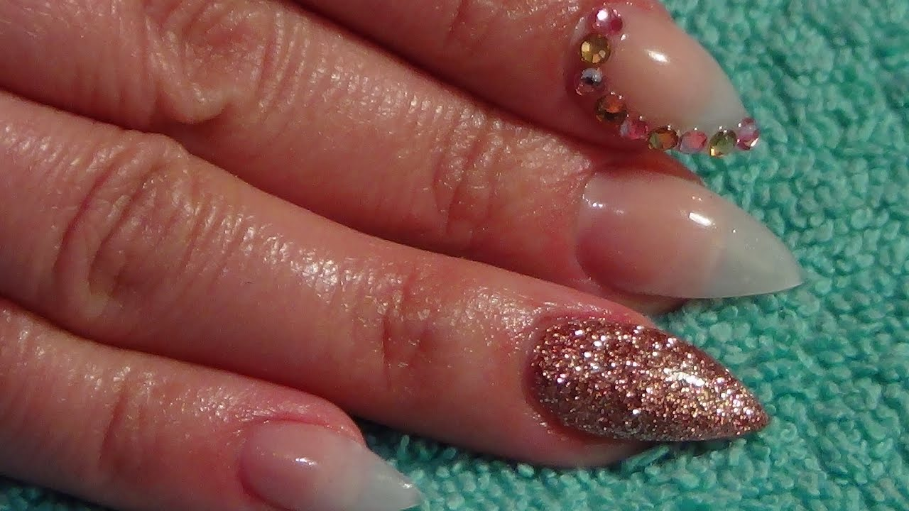 Natural Almondetto Acrylic Nails - YouTube