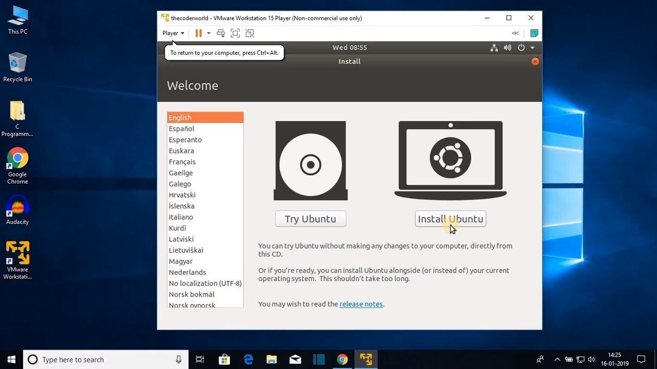 How to Install Ubuntu in VMware Workstation Player