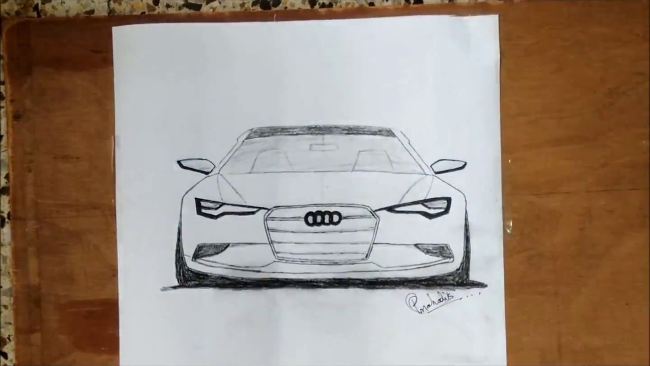 How To Draw Audi Car Sketch Youtube