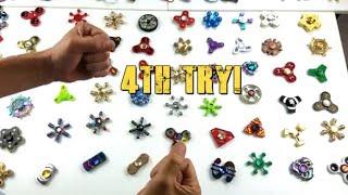 INCREDIBLE 50 Fidget Spinner Spin Challenge Under 30 Seconds!!