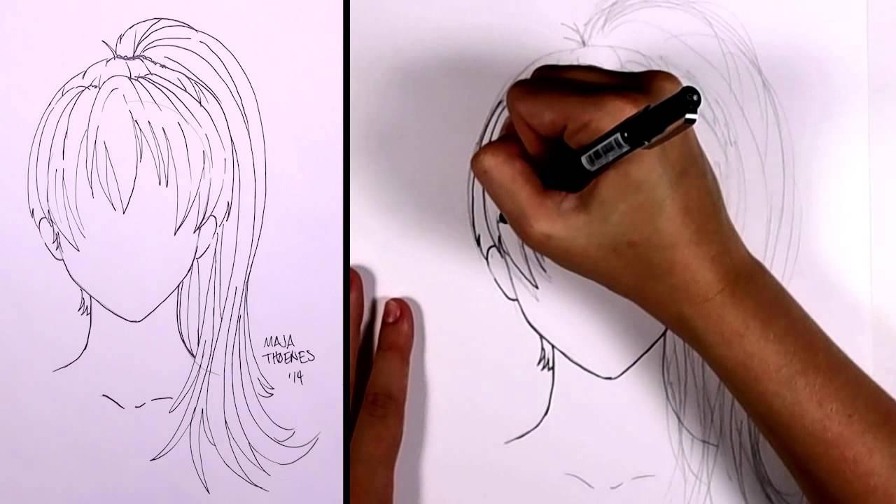 draw manga hair - ponytail