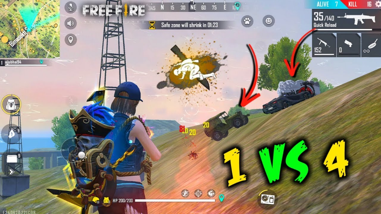 Scar Solo vs Squad Unbelievable HeadShot - Garena Free Fire- Total Gaming