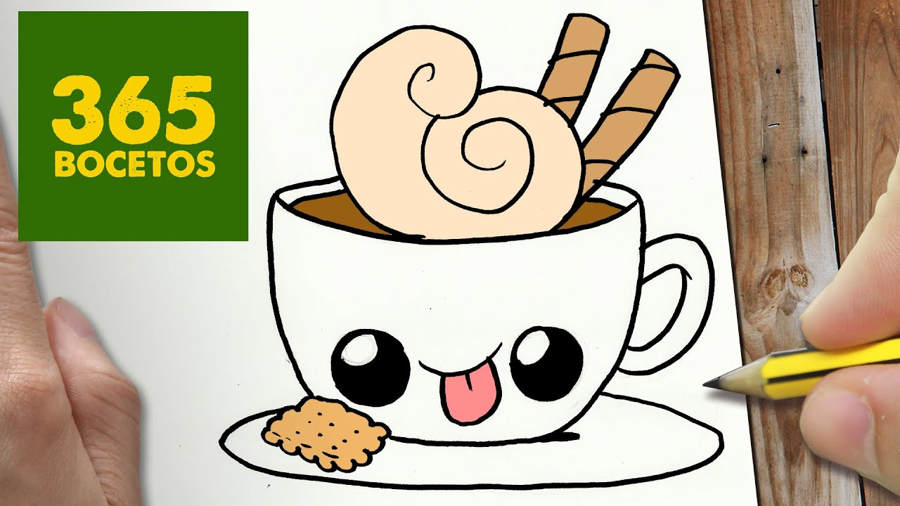 COMO DIBUJAR CAFE KAWAII PASO A PASO