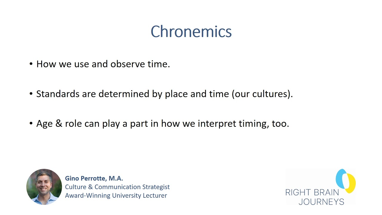 Chronemics Narrated Presentation Youtube Chronemics help us to understand how people perceive and structure time in their dialogue and relationships with others. chronemics narrated presentation