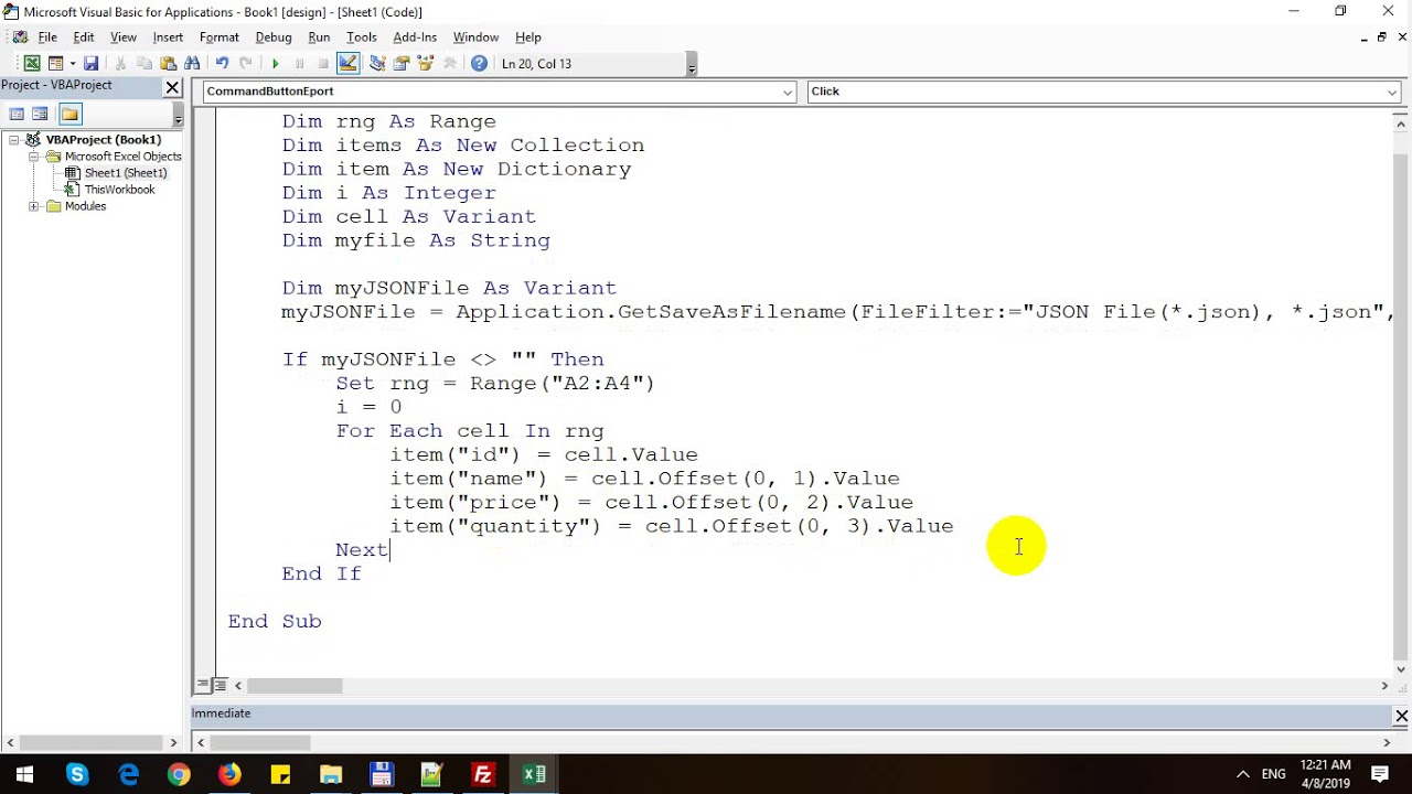 Export Excel to JSON using Excel VBA
