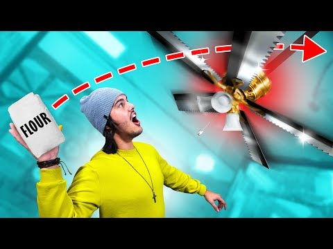 Throwing Things Into A DANGEROUS Ceiling Fan!