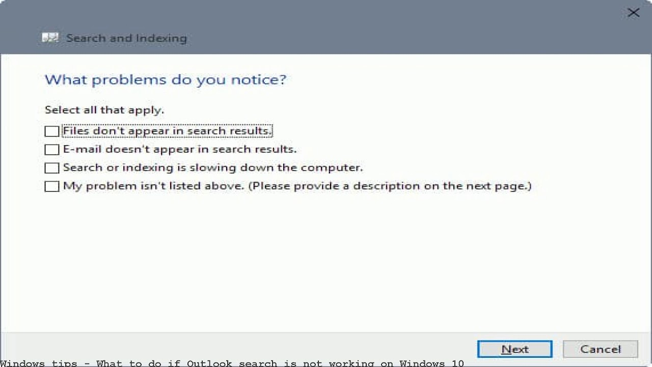 What to do if Outlook search is not working on Windows 10