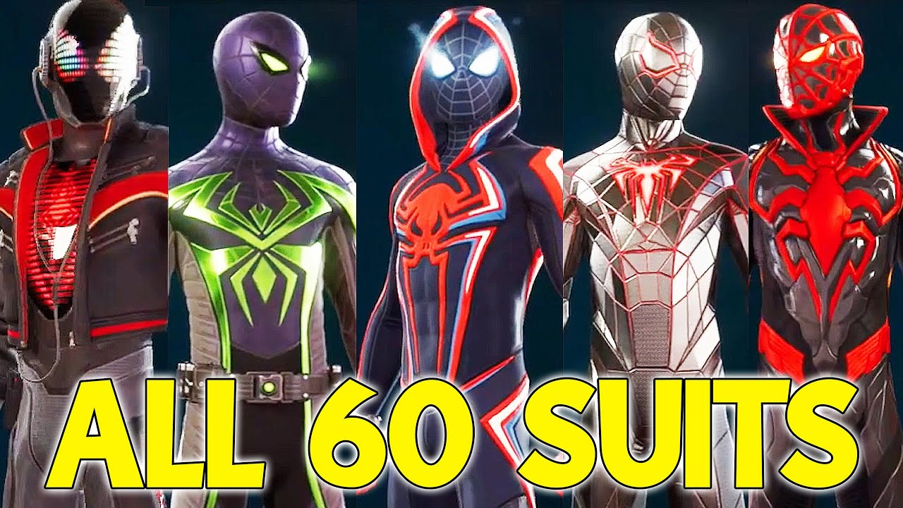 All 60 Miles Morales & Spider Man Suits & Costumes - Spider Man Miles Morales PS5