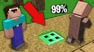 Minecraft NOOB vs PRO:99% VILLAGERS CANT FOUND EMERALD TRAPDOOR IN GRASS PATH!Challenge 100%trolling
